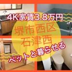 家賃3.8万円敷金礼金0円のテラスハウス堺市西区浜寺石津西 ペット可4K